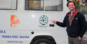 HSUS Board Member Andrew Weinstein with HSI van in Bhutan captial Thimphu
