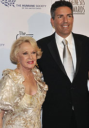 Genesis Awards Lifetime Achievement Award winner Tippi Hedren with HSUS President and CEO Wayne Pacelle