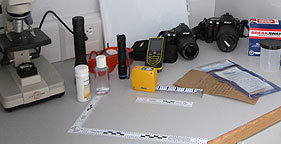 Forensic equipment inside The HSUS's Mobile Animal Crimes Lab
