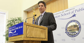 Wayne Pacelle, president and CEO of The Humane Society of the United States, speaking at the University of Arkansas Clinton School of Public Service