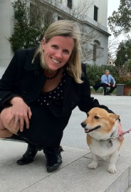 HSUS California senior state director Jennifer Fearing with Sutter the corgi