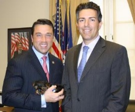 Rep. Grimm with Sebastian, his adopted puppy mill dog, and Wayne Pacelle