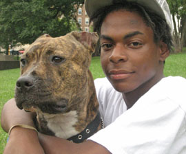 End Dogfighting participant Peanut with his dog Tiger