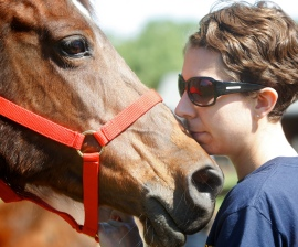 Tami Santelli of The HSUS with a rescued Arabian horse