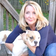 HSUS's Michelle Cascio with her rescued bulldog