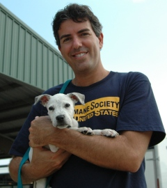Wayne Pacelle with a white dog after Hurricane Katrina