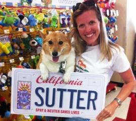 Jennifer with Sutter and license plate