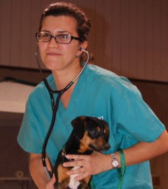 HSVMA Rural Area Veterinary Services volunteer vet student with puppy