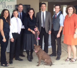 Staff of the Animal Rescue League in Pittsburgh with Wayne Pacelle and Gizmo