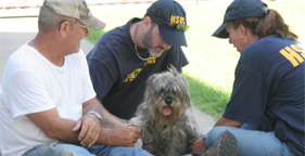 Dog cared for by HSUS after flooding in Coffeyville, Kansas