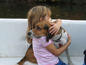 Little girl and beagle