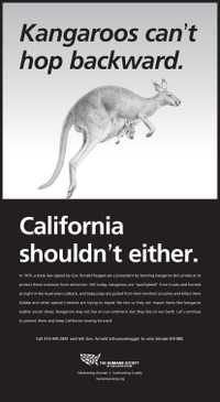 HSUS kangaroo leather ad in Sacramento Bee